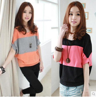 Women's Korean-style Plus Size Short Sleeve T-Shirt (Orange) (Orange)