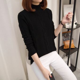 Loose Korean-style solid color female autumn and winter knit shirt pullover sweater (Black)
