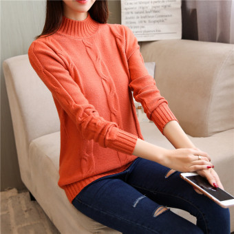 Loose Korean-style solid color female autumn and winter knit shirt pullover sweater (Ju Hong)