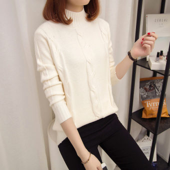 Loose Korean-style solid color female autumn and winter knit shirt pullover sweater (White)