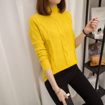 Loose Korean-style solid color female autumn and winter knit shirt pullover sweater (Yellow)
