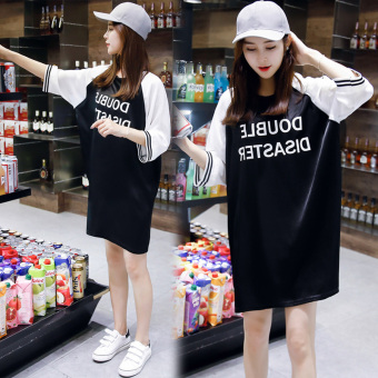 Loose Korean-style spring and summer new Plus-sized female dress short sleeved t-shirt dress
