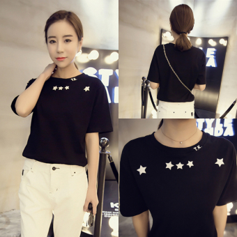 Loose Korean-style summer slimming short sleeved t-shirt (Black)
