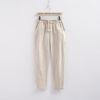 Loose linen female New style summer women's pants cotton linen pant pants (Beige)