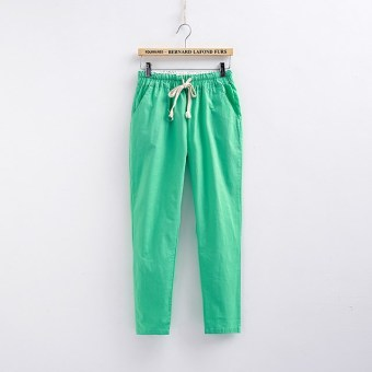 Loose linen female New style summer women's pants cotton linen pant pants (Blue)