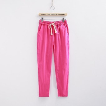 Loose linen female New style summer women's pants cotton linen pant pants (Rose color)