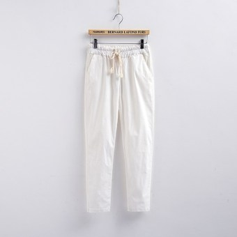Loose linen female New style summer women's pants cotton linen pant pants (White)