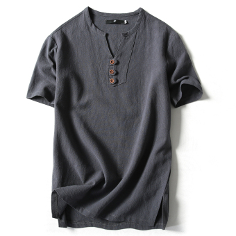 Linen solid color men summer Short sleeve Top (Blue and gray)