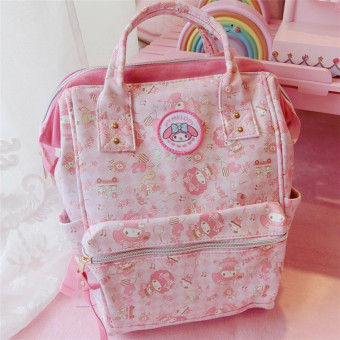 Melody cute pink students soft waterproof fabric backpack (US di sheep standard models) (US di sheep standard models)