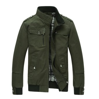 Harga Men Fashion Cotton Jacket Windproof Winter Coat(Army green) - intl