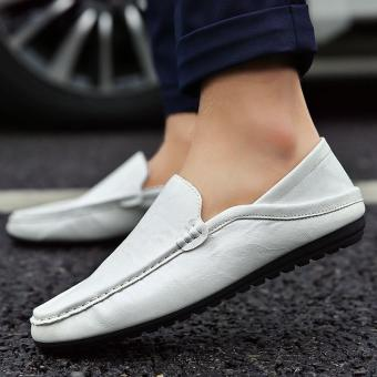 Men shoes Casual Shoe Leather Shoes fashion boy gommino oto1 (White)
