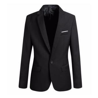 Men's Slim Fit Stylish Casual One Button Suit Coat Jacket Business Blazers Men Coat High Quality Men Blazers (black) - intl