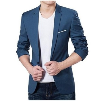 Men's Slim Fit Stylish Casual One Button Suit Coat Jacket Business Blazers Men Coat High Quality Men Blazers (blue) - intl