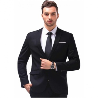 Men's Slim Fit Stylish Casual One Button Suit Coat Jacket Business Blazers Men Coat High Quality Men Blazers - intl