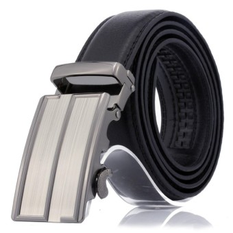 Men`s Fashion Artificial Pu Leather Upgraded alloy material Automatic Buckle Luxury Men Belt Fashion Belts For Men Business Popular Male Brand Black Belts - intl