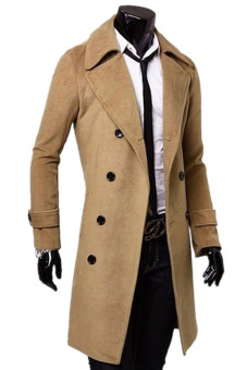 Men's Slim Fit Double Breasted Button Coat (Khaki)