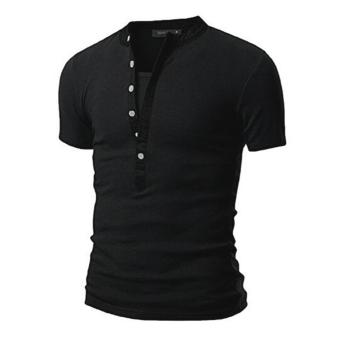 Mens V Neck Short Sleeve Slim Fit T-Shirt(Black)