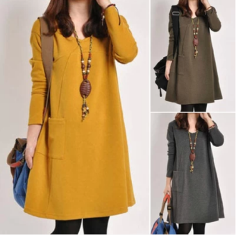 Women's Plus Size Long Sleeve Midi Dress (Yellow) (Yellow)