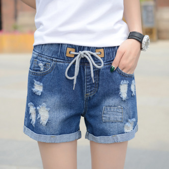 Ruyuanbeier Korean-style Elastic Ripped Denim Shorts (In blue) (In blue)