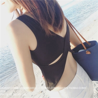 Modal Summer back porous vest chest Pad strap (Black) (Black)