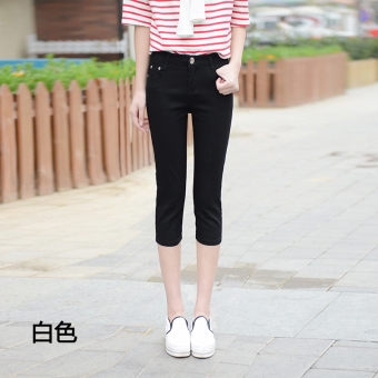 Multi-color thin stretch Slim fit casual pant female shorts (Black)