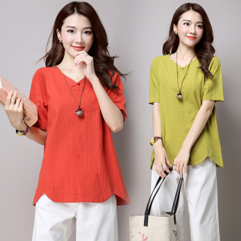 National Style cotton linen summer short sleeved loose casual Top T-shirt (Dark green color)