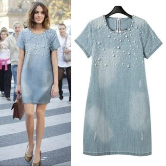 New fashion beaded loose short-sleeved denim dress plus size - intl