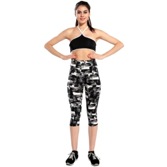 New Fashion Women Capri Leggings High Waist Printed Cropped Yoga Pants Fitness Workout Casual Trousers - intl