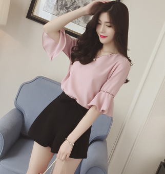 Sweet solid color New style not Top (Pink) (Pink)