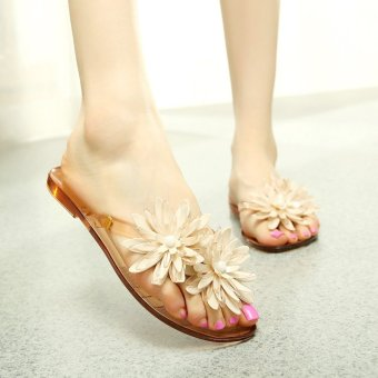 Harga New style camellia flower sandals flat jelly beach jelly shoes(Tawny) (Tawny)