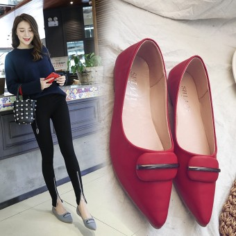 New style flat heel pointed moccosins shoes (Red)