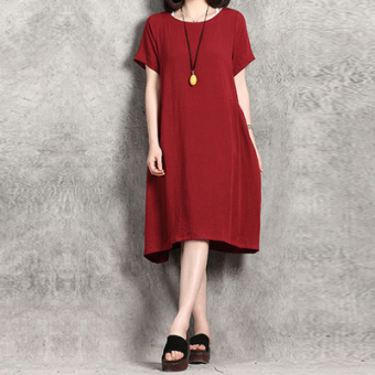 New style loose Korean-style Linen solid color short-sleeved dress (Red) (Red)