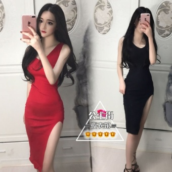 Harga New style sleeveless Slim fit side slit knitted solid color longdress (Red)