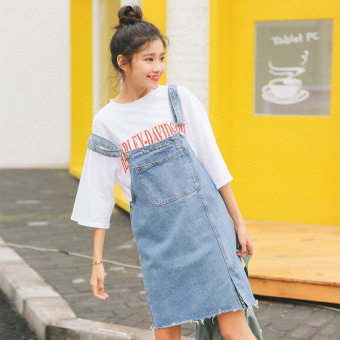 New style wash to do the old denim strap dress Dungaree dress(Light blue) (Light blue)
