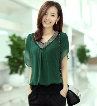 New Summer Plus Size 3XL Women Beading Chiffon Blouse V neck Short sleeve Casual Blouses and Shirts Ladies Tops Blusas Green - intl