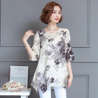 New Women Blouse Femininas Loose Short Sleeve Blouse Shirt Women O-Neck Floral Casual Shirts Plus Size Lady Shirt M-4XL - intl