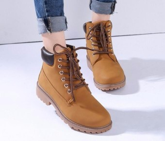 New Work Boots Women's Winter Leather Boot Lace up Outdoor Waterproof Snow Boot Yellow -Intl