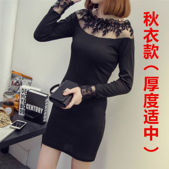 Nightclub female Slim fit long section lace dress