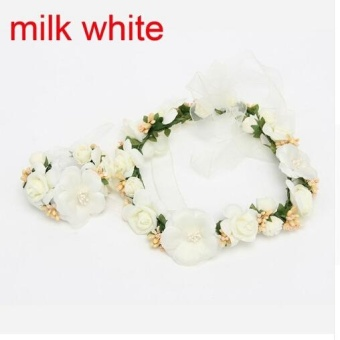 Okdeals Wedding Bride Girl Lace Flowers Crown Garland Headband & Hand Flower Wreath Set Hair Accessories