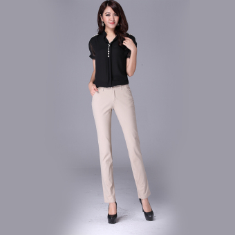 Spring and Autumn small straight stretch Korean-style white casual pants (Khaki)