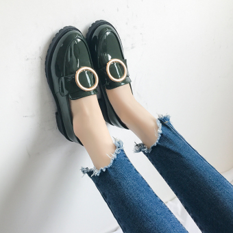 Peas versatile female New style autumn retro small leather shoes black leather shoes (Green)