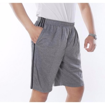plus size men's shorts elastic waist casual Cotton Pocket Short for men grey xl 2xl 3xl 4xl 5xl - intl