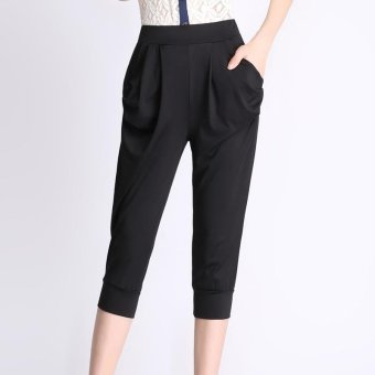 Plus Size New Summer Women Fashion Loose High Waist Black Calf-Length Harem Pants - intl