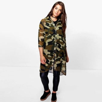 Plus Size Women Chiffon Camo Camouflage Shirt Dress 3/4 Sleeve Boyfriend Longline Shirt Big Size Dress 3XL 4XL 5XL 6XL - intl