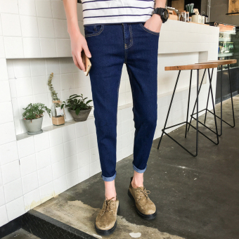 Men's Korean-style Stylish Cropped Pencil Pants ([Conventional models] Blue-pants) ([Conventional models] Blue-pants)
