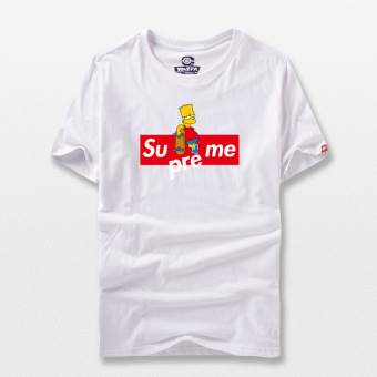 Raeek summer New style Hong Kong style Harajuku Japanese-style tidebrand Simpson T-shirt for men and women couple models cotton roundneck short-sleeved (White Simpson box)