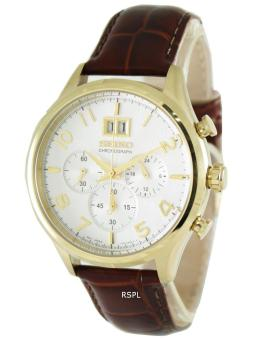 Seiko Neo Classic Chronograph Men's Brown Leather Strap Watch SPC088P1