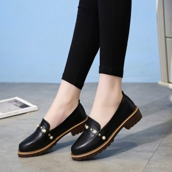 Shishang autumn New style flat heel small leather shoes single shoes (Black)