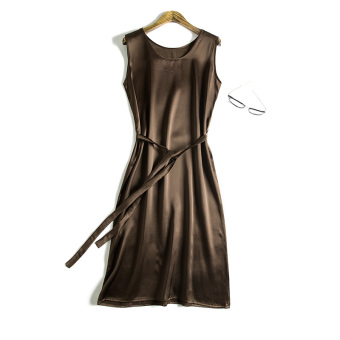 Harga Silk M summer sleeveless vest skirt (Coffee color) (Coffee color)