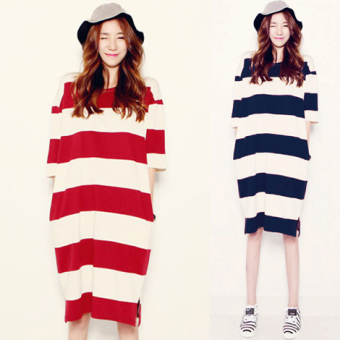 Slit loose long section cotton short-sleeved dress T-shirt summer (Red and white stripes) (Red and white stripes)